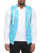 Men French Terry Sleeveless Zup Up Hoodie Light Bl