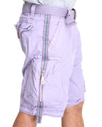Men Cargo Zip Shorts Purple 34