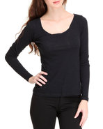 Women Long Sleeve Scoop Neck Top Black X-Small