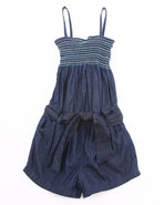 Girls Smocked Denim Romper (7-16) Dark Wash 14/16 