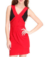 Women Color Block Dress Black Small