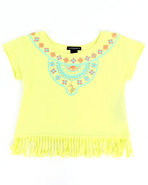 Girls Aztec Fringe Top (7-16) Lime Green 16 (Xl)