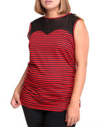 Women Jeweled Shoulder Illusion Striped Top (Plus)