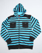 Boys Striped Hoodie With Pockets (8-20) Blue 16/18