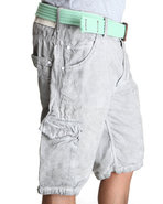 Men Spray Washed Cargo Shorts Grey 33