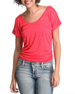 Women Short Sleeve Knit Stripe Top Red Medium