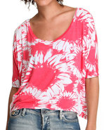 Women Hi-Lo Flower Knit Top Red Medium