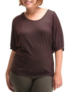 Women Dolman Sleeve Top (Plus) Brown 1X