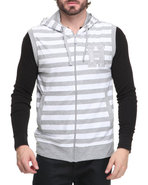 Men Sleeveless Striped Hoodie Grey Xx-Large