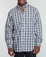Men Tartan Plaid W/ Chest Pocket Button-Down Navy