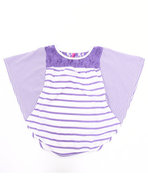 Girls Striped Cape Top W/ Lace (7-16) Purple 7/8 (