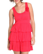 Women Ruffle Tiered Sun Dress W/ Flowers Red Small