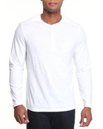 Men V-Neck L/S Tee White Small