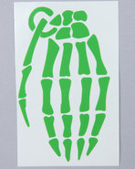 Men Skeleton Grenade 4  Die Cut Sticker Green