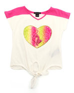 Girls Colorblock Tie Front Top (Infant) White 12 M