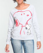 Women Snoopy Pullover Sweatshirt Grey Large