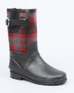 Girls Apple Buckle Plaid Trim Rainboot Black 13