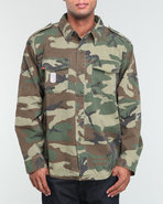Men Woodland Camouflage Vintage Fatigue Shirt Camo