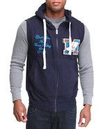 Men French Terry Hoodie Vest W/ Patch Detail Navy