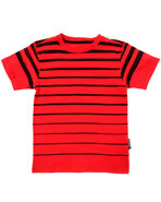 Boys Printed Stripe Crew Neck Tee (4-7) Red 5/6 (M