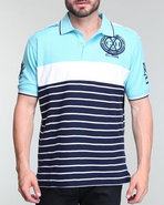 Men Striped Polo Shirt Light Blue X-Large