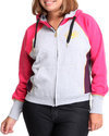 Women Color Block Hoodie Pink 1X