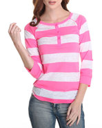 Women Lace Detail Stripe Jersey W/ 3/4 Sleeve Pink
