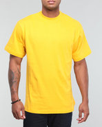 Men Plain Short Sleeve Crew Neck Gold X-Large
