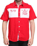 Men Nautical Short Sleeve Woven Shirt Red Large