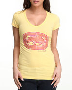Women V-Neck Tee Yellow Small