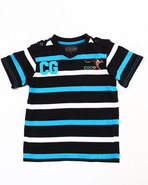 Coogi Boys Striped V-Neck Tee (4-7) Black 6