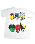 Boys Marvel Characters Tee (8-20) Light Grey Small