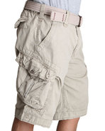 Men Rip Stop Cargo Shorts Khaki 40