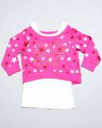 Girls 2 Fer Pull Over (Big Girls) Pink 10/12 (M)