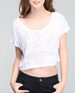 Women Sunscreen Crop Top Burnout White Large
