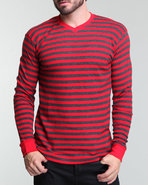 Men Stripes Yarn Dyed Thermal Red X-Large