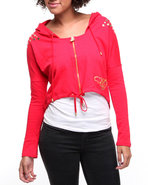 Women French Terry Active Hooded Stud Trim Jacket