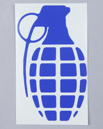 Men Grenade 4  Die Cut Sticker Blue