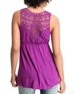 Women Empire Waist Top W/Crochet Back Purple Small