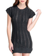 Women Short Sleeve Sweater Dress Charcoal Medium