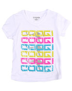 Coogi Girls V-Neck Logo Tee (4-6X) White 6X (L)