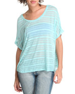 Women Stripe Knit Top Green Large