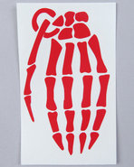 Men Skeleton Grenade 4  Die Cut Sticker Red
