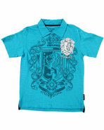 Boys Graphic Slub Polo (8-20) Blue 18/20 (Xl)