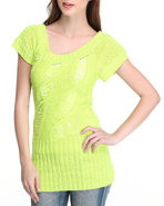Women Open Weave Tunic Yellow Small
