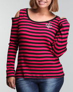 Women Girls Best Friend Stripe Thermal (Plus) Red