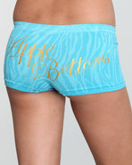 Women Zebra Textured Seamless Boyshort Blue Large