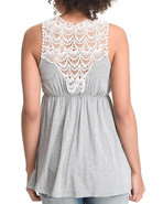 Women Empire Waist Top W/Crochet Back Grey Medium