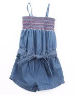 Girls Smocked Denim Romper (7-16) Medium Wash 10/1