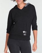 Women 3/4 Sleeve Pullover Black Small